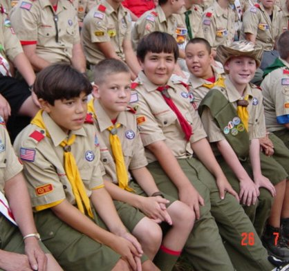 Boy Scouts at campfire